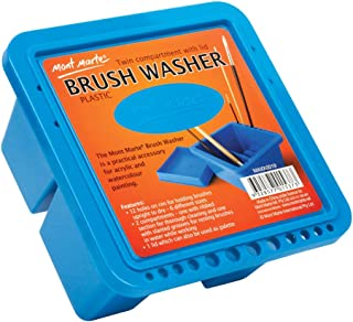 Mont Marte Twin Compartment Plastic Brush Washer. Easy Paint Brush Cleaning and Drying. Suitable for Acrylic and Watercolor Painting.