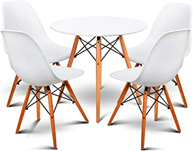Artiss Round Dining Table and 4 Eames Chairs, 5-Piece Dining Set