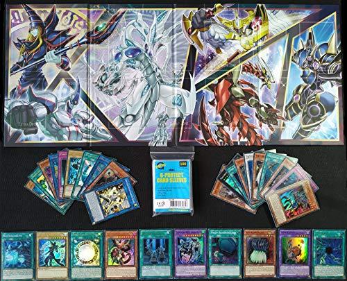A Yu-Gi-Oh! 30 Holo Karten Sammlung Set/Pack + Spielbrett (Spielmatte/Playmat) + 100 Arkero-G Soft Sleeves japanische YuGiOh Kartenhüllen
