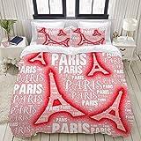 Juego de Funda nórdica, ilustración de Iconos de la Torre Eiffel de Palabras de París, Juego de Cama de 3 Piezas Decorativas Coloridas con 2 Fundas de Almohada