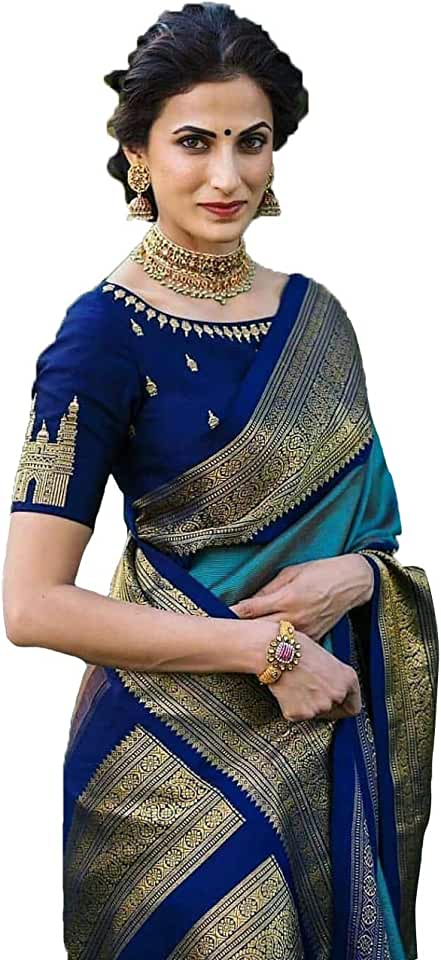 Indian krishna creation Women's Silk Pure Banarasi Saree with Blouse (Blue, Multicolored) Saree