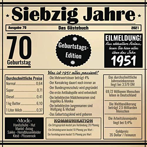 Siebzig Jahre Das Gästebuch: Zum 70 Geburtstag / Geburtsjahr 1951 / Zeitung Design Mit Ereignissen...