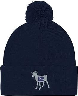 Tom Brady Greatest of All Time Goat Pom Pom Knit Cap Navy