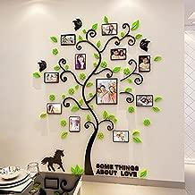 Alicemall Vinilos Arbol con 9pcs Marcos de Foto Pegatinas de Pared con Hojas Verde 144*175cm para Sala de Estar Salon Pegatinas 3D