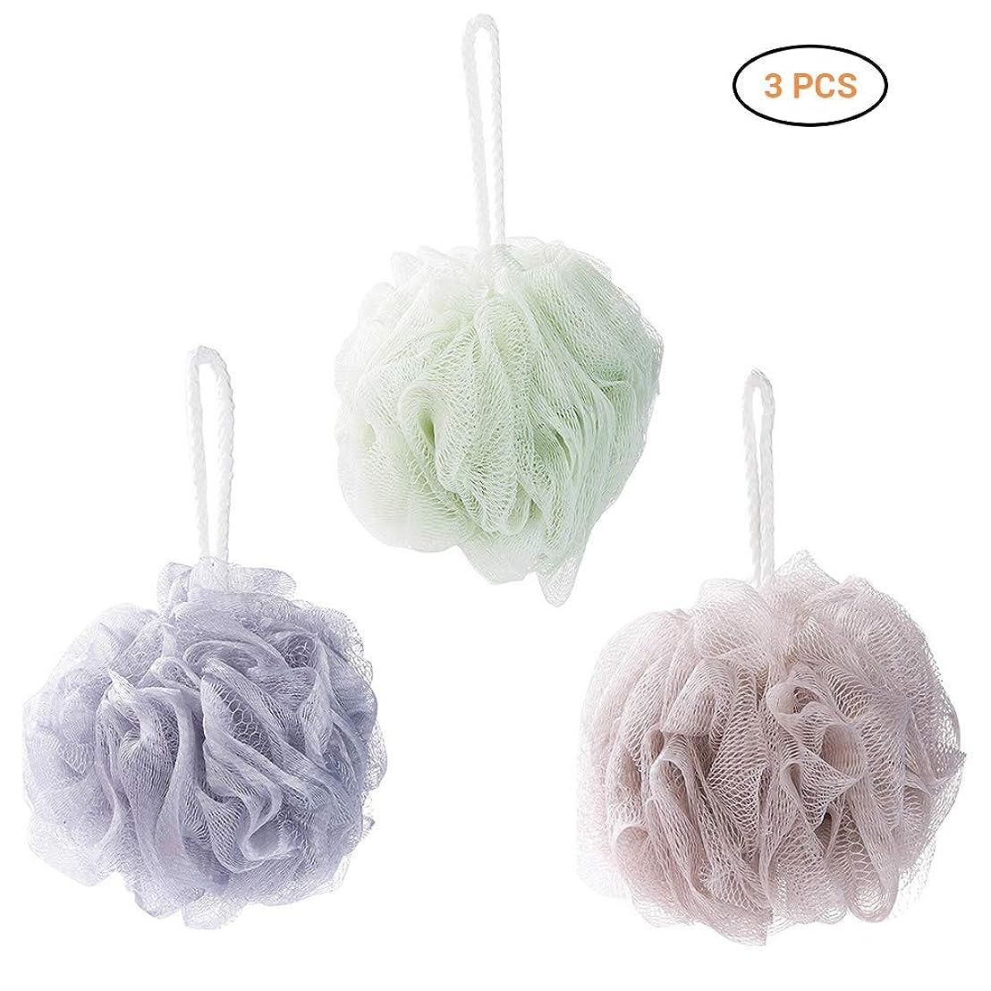 署名バッグ対Ourine 泡立てネット 超柔軟 シャワー用 ボディ用お風呂ボール フラワーボール ボディ洗い ボディースポンジ ボディースポンジ 花形 タオル 3点セット 3色 (カラー1)