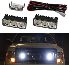 iJDMTOY (2) High Power 3-LED Daytime Running Light Kit For Truck SUV 4x4 Behind Grille, Cool White Color