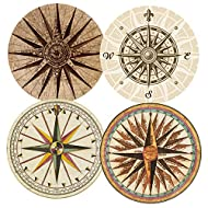 SUPCOW Coasters for Drinks Absorbent Set of 4, Ceramic Stone Coaster with Absorb Thicker Cork Back Non-slip Compass