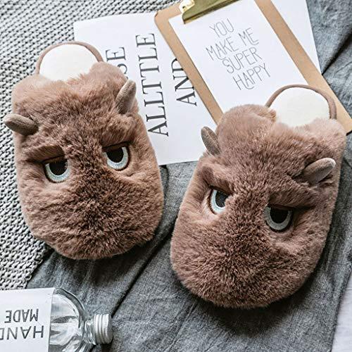 AYDQC Zapatos de la casa Caliente de Invierno Zapatillas para Mujer Zapatillas de Peluche Zapatillas Antideslizantes Zapatillas de Dibujos Animados Lindo Zapatos Suaves toboganes