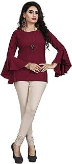 JETHVA Designer Sleeve Fancy Maroon Top for Girls