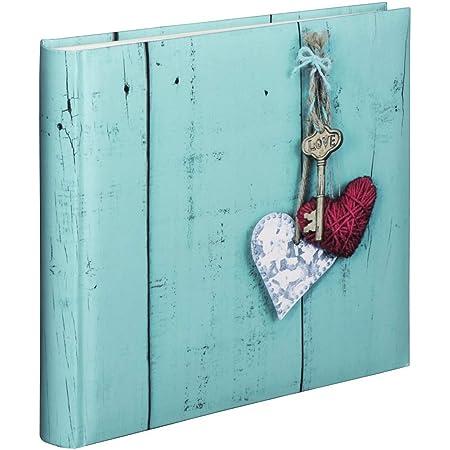 """Hama Album photo traditionnel """"Rustico"""" (grand format, album de 30 x 30 cm, 100 pages blanches, 400 photos au format 10x15, idéal pour le scrapbooking, photos à coller) Love Key"""