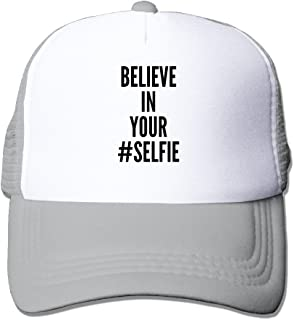 MZONE Unisex Mesh Cap Hat Believe In Your Selfie Poster Fishing Cap Hat Black