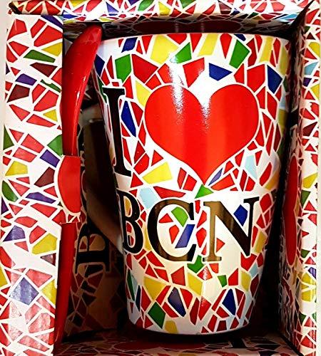 MR Taza DE Cafe Grande I Love BCN TRENCADIS CUCHARITA ROJA