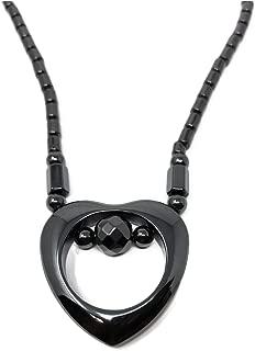 LZD Hematite Non-Magnetic Necklace Mens Womens Unisex Bead Black Heart X77