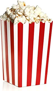 Blue Panda Set of 100 Mini Popcorn Favor Boxes - 3x5 Snack Containers for Carnival Party Supplies, Movie Night, Birthdays, Red and White, 20 Ounce, 3.3 x 5.6 Inches