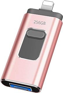iweed Clé USB 256Go pour iPhone Clé USB 3.0 Mémoire Stick 3 in 1 Compatible pour iPod OTG Andriod PC Ordinateur Flash Driv...
