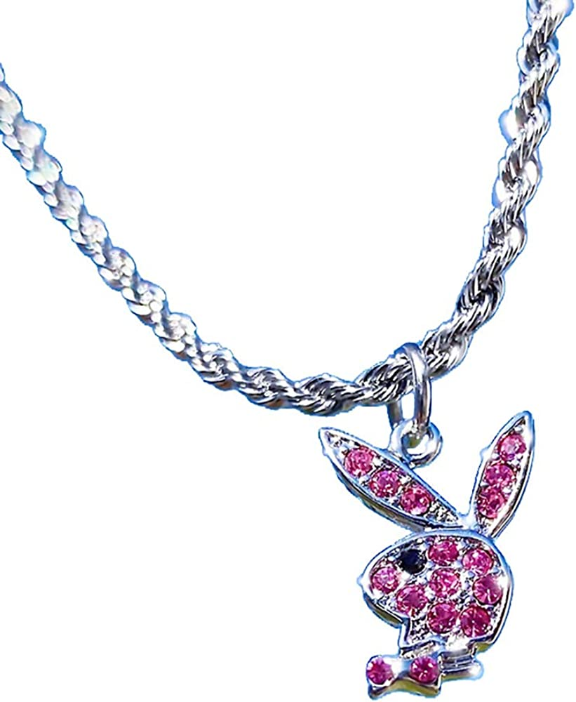Rhinestone Playboy Rabbit Pendant Necklace Stainless Steel Vintage Y2k Punk Chain Choker for Women Eboys Egirls