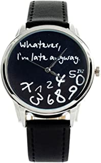 Watch, Auwer Hot Women Leather Watch Whatever I am Late Anyway Letter Watches