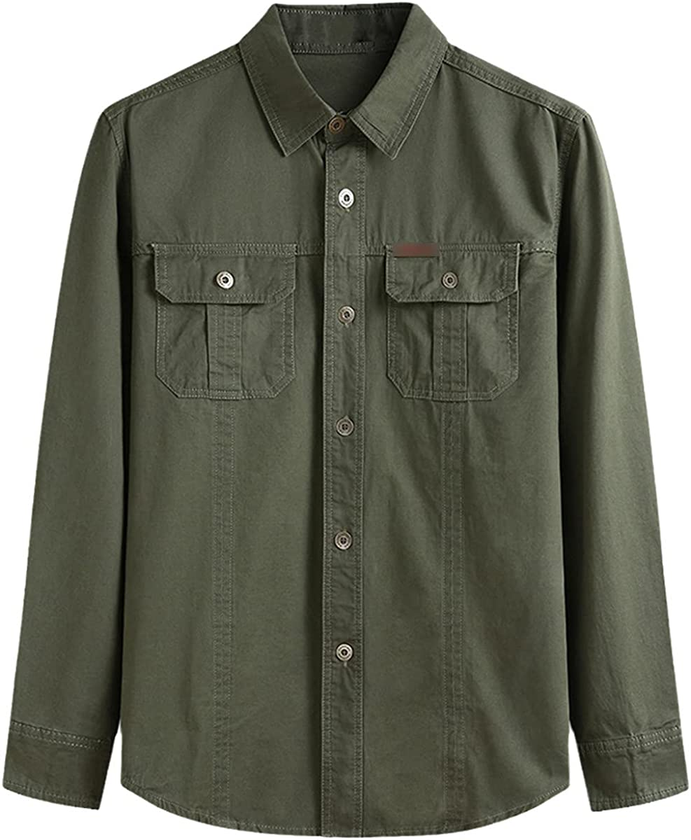 Oversized Military Casual Style Men's Spring and Autumn Pure Cotton Army Green Long-Sleeved Shirt