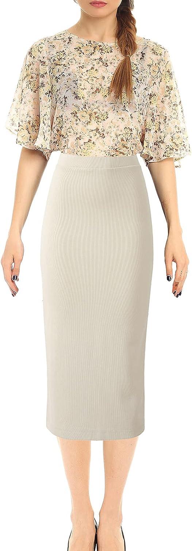 CPGEELIY Women's Midi Skirt High Waisted Knitted Back Split Beige Skirt Pencil Skirt for Business Office Work