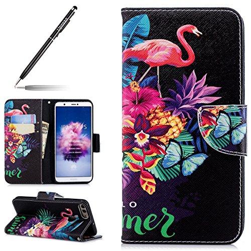 Uposao Kompatibel mit Handyhülle Huawei P Smart Handytasche Retro Muster Leder Flip Case Cover Tasche Ledertasche Lederhülle Bookstyle Klapphülle mit Kartenfach Magnetverschluss,Flamingo Baum