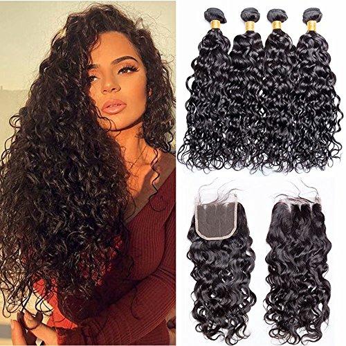 Maxine Brazilian Virgin Human Hair 3 Bundles with Closure Water Wave Hair Bundles with 4x4 Three Part Closure Unprocessed Virgin Human Hair (18 20 22 with 16, Natural Color)