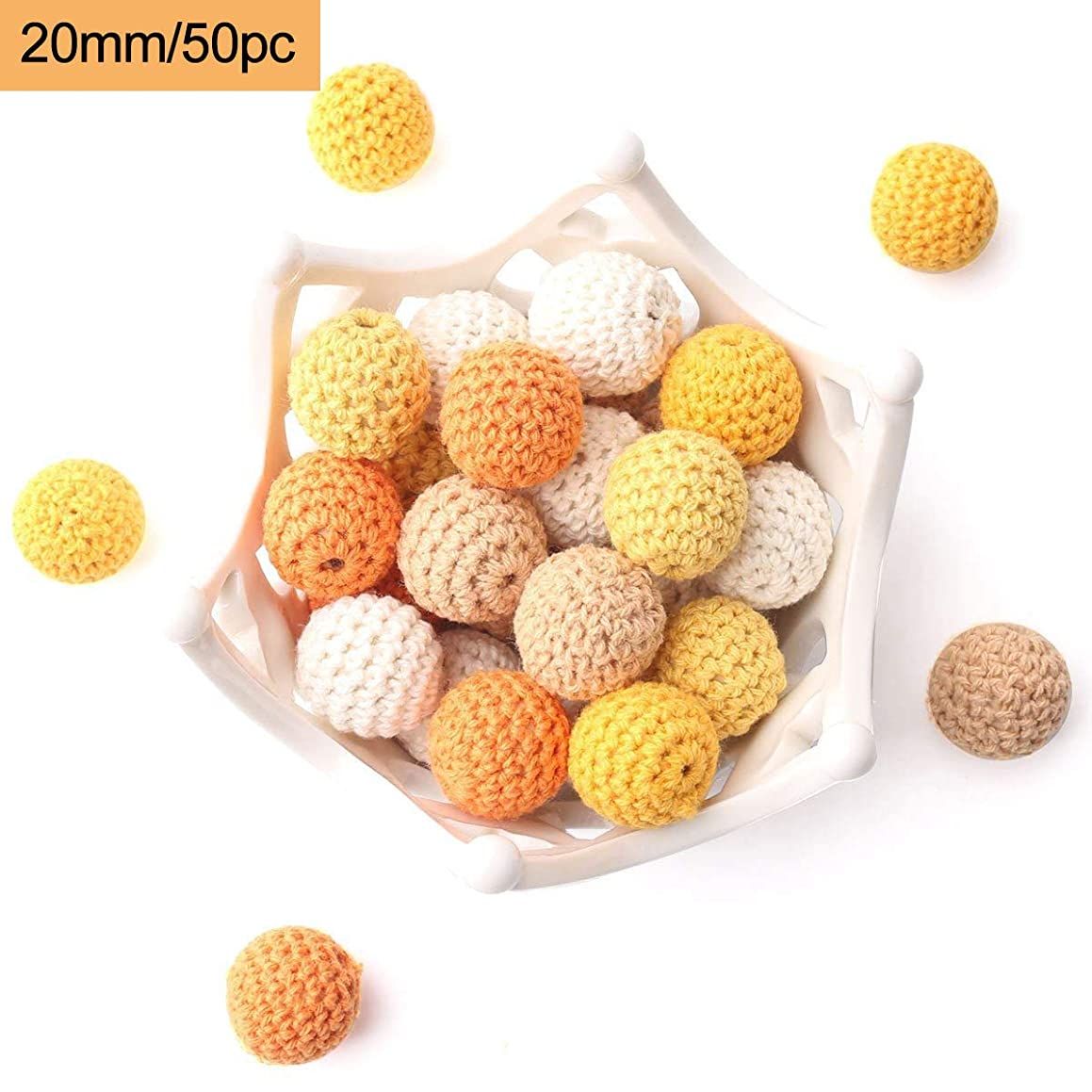 Baby Wooden Beads Round Crochet Beads 20mm/50pcs DIY Necklace/Bracelet Baby Teething Toys Yellow Series