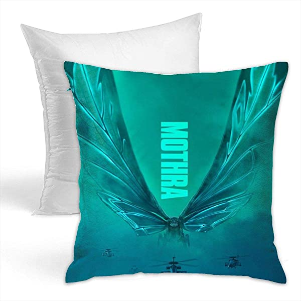 VIXXLH Double Side Printed Throw Pillow Cushion Cover With God Zilla Monsters Mothra Customized Hold Pillow Zipper Warist Pillow For Home Bed Decorative 16 X 16 Inch