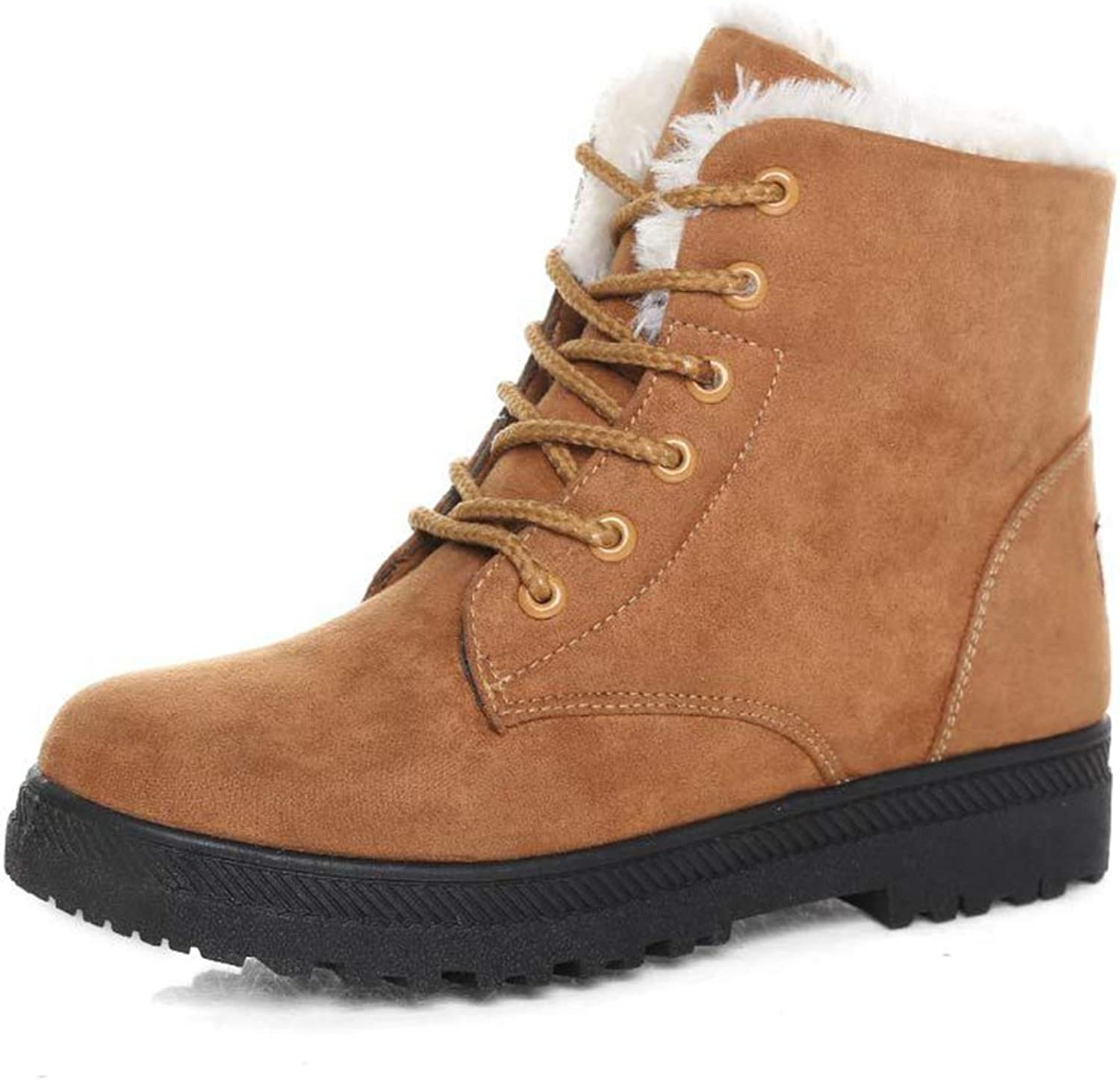 Zarbrina Womens Fleece Lined Ankle Boots Ladies Fashion Round Toe Flock Short Plush Lace Up Cross Tied Warm Snow shoes