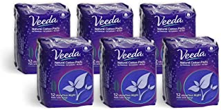 Veeda Ultra Thin Absorbent Overnight Pads are Always Chlorine and Fragrance Free, Hypoallergenic, Natural Cotton Sanitary Napkins, 6 Packs of 12 Count Each