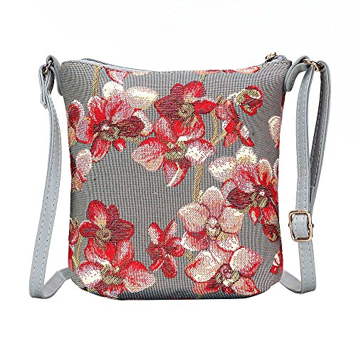 Signare Tapisserie Kleine Tasche Damen, Handtasche Damen Klein, Reisepass Tasche, Mini Handtasche (Orchidee)