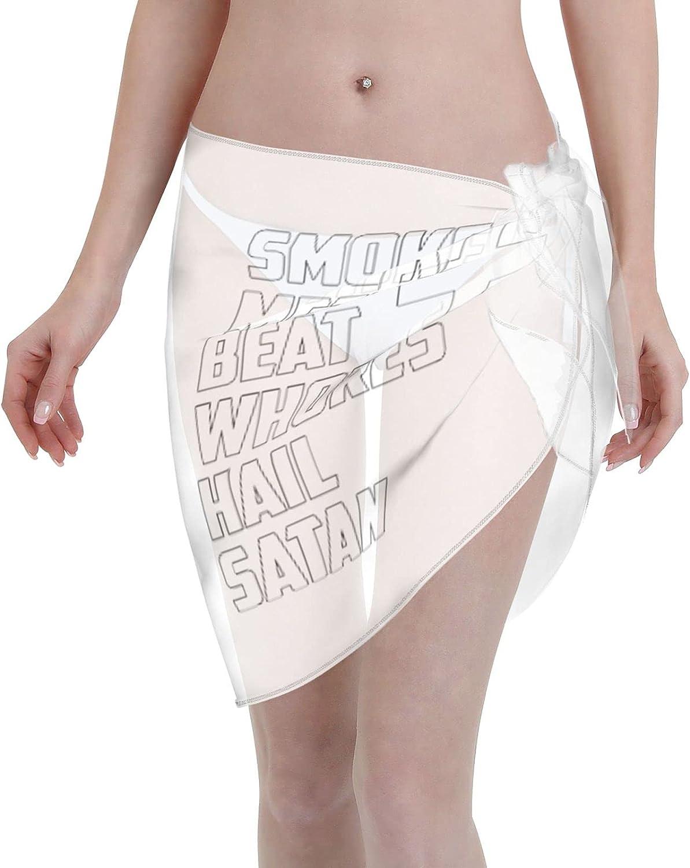 Smoke Meth Beat Whores Hail Satan Womans Sarong Beach Wrap Sheer Short Skirt Bikini Chiffon Scarf Swimsuit Cover Ups Sarong Skirt Black