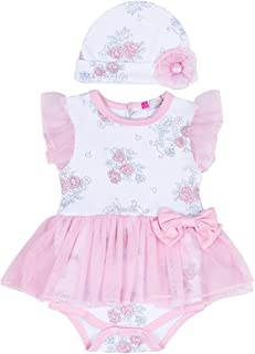 puseky Newborn Baby Floral Princess Girls Mesh Tutu Romper Dress Hat Clothes Set