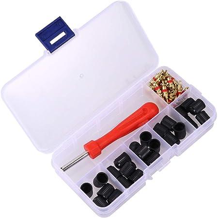 Sinblue Reifenventil Kern Werkzeug Set Mit Doppel Und Einzelkopf Ventilkern Reifenreparatur Werkzeug 1 Stück 4 Wege Ventil Werkzeug 10 Stück Reifenventilkappen 20 Stück Ventilkern Auto