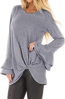Kidsform Womens Long Sleeve Casual Tops Blouses Twist Knot Tunics Waffle Knit T-Shirts Rust Top Shirt