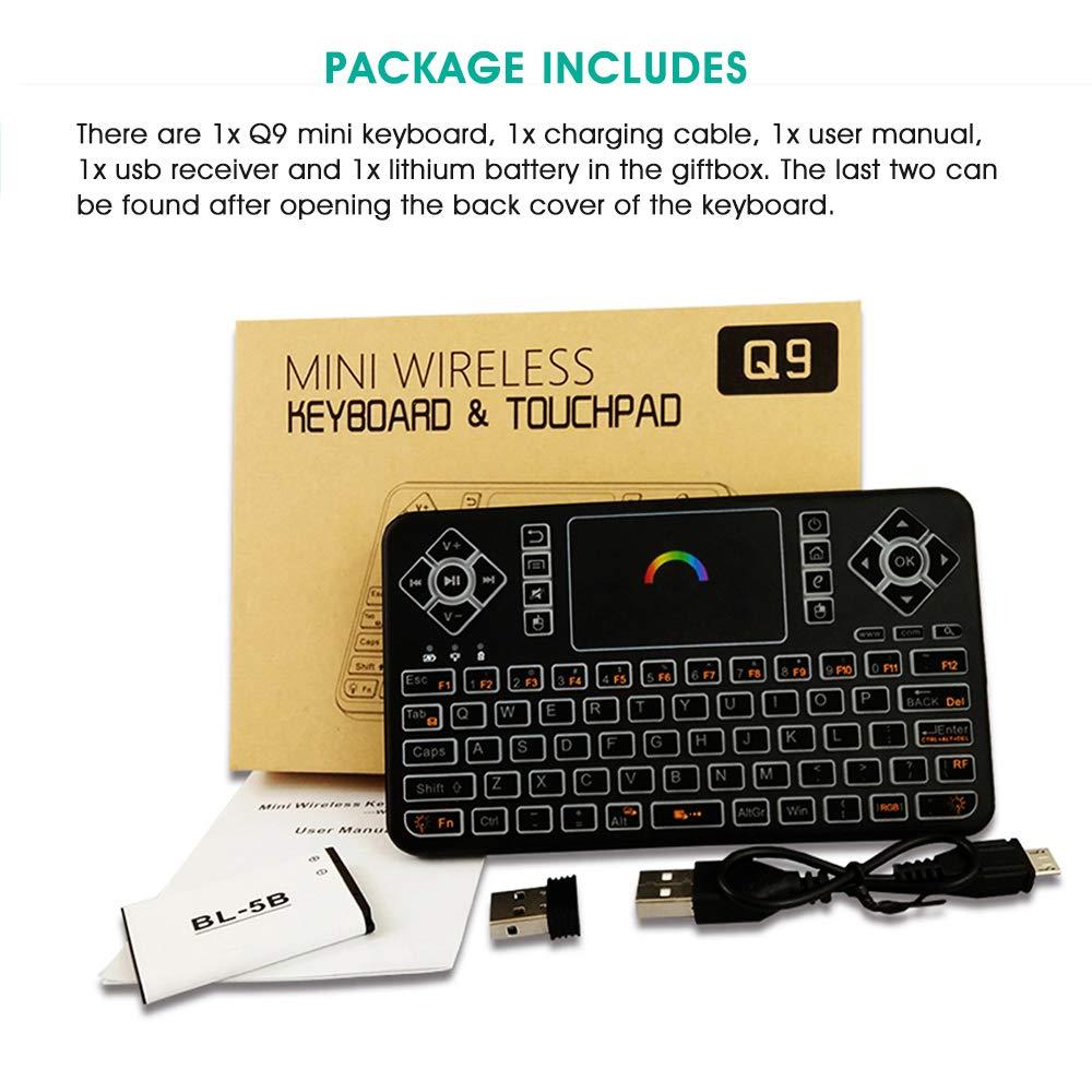 KingLeChange Q9 Mini Teclado Inalambrico Touchpad Retroiluminado para Smart TV (LG Samsung Sharp y más) Android TV Box y IPTV, RF 2.4Ghz USB, 7 Colores de Luz de Fondo: Amazon.es: Electrónica