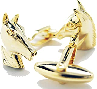 Mens Executive Cufflinks Gold Tone American Saddlebred Race Horse Head Cuff Links