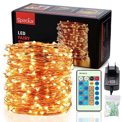 30M LED Lichterkette, Speclux 300 LED Kupferdraht Lichterkette Warmweiß mit Fernbedienung IP65 Wasserdicht Weihnachtsbeleuchtung Innen und Aussen für Weihnachten, Hochzeit, Party, Zuhause, Fenster