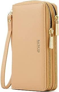 Cyanb Wristlet Cellphone Clutch RFID Blocking Wallet Long Purse with Dual Zipper Removable Wrist Strap Apricot