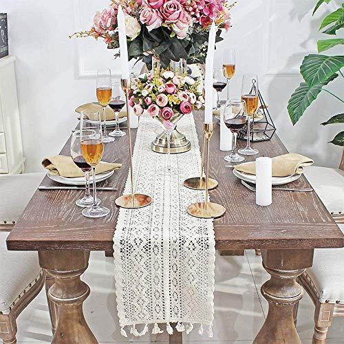 Vintage Handgemachte Beige Makramee Tischläufer,Rechteckige Häkelspitze Hohle Mesh Tischdecke für Boho Hochzeit Dekor Braut & Baby Dusche Tisch Dekoration Bauernhaus Tabletop Dekor