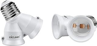 DiCUNO E27 / E26 Adaptador de enchufe 2 en 1 Adaptador de enchufe de 2 paquetes Adaptador de base de lámpara para bombillas LED y bombillas incandescentes y bombillas CFL
