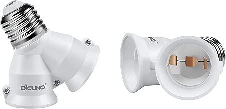 DiCUNO 2 in 1 E26 Socket Splitter Adapter, Two E26 Standard Medium Base Bulbs in One Socket Y-shape Lamp Holder Extender, Maximum 200W and 165℃ Heat Resistant Light Bulb Splitter 2Pcs
