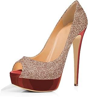 Women Peep Toe Pumps Platform Thin Heel Stiletto Sandals Wedding High Heels Slip On Dress Shoes