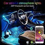 TABEN Luce Ambientale Interna Auto 64 Colori Controllo App Kit luci Atmosfera Auto Decorazione Impermeabile Fibra Ottica Atmosfera Neon Striscia luci Fredde 1W DC 12V 3m