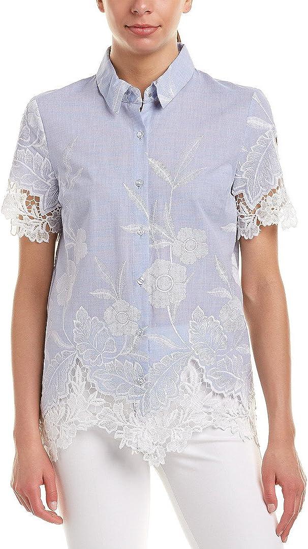 T Tahari Women's Lola Sheer Floral Lace Short Sleeve Blouse