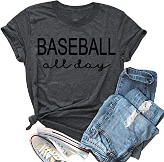 EGELEXY Summer Women Casual T-Shirt Sleeve Baseball All Day Letter Print Shirt Mom Funny Tee Top Blouse