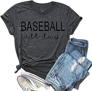 تي شيرت نسائي صيفي من EGELEXY بأكمام بيسبول مطبوع عليه رسالة لعيد الأم قميص مرح قميص علوي بلوزة