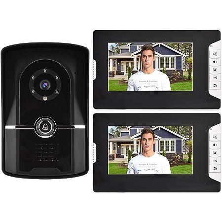 7 Pouces LCD HD Moniteur Syst/ème Sonnette de Porte Interphone Portier Vid/éo avec Vision Nocturne Capture Instantan/ée Lecteur de Carte RFID Enregistrement Automatique. Sonnette Vid/éo EU