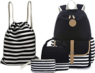 "BAGTOP School Backpack Set - Canvas Teen Girls Bookbags 15"" Laptop Backpack + Lunch Bags + Drawstring Backpack + Pen Case Bags Set (Black)"