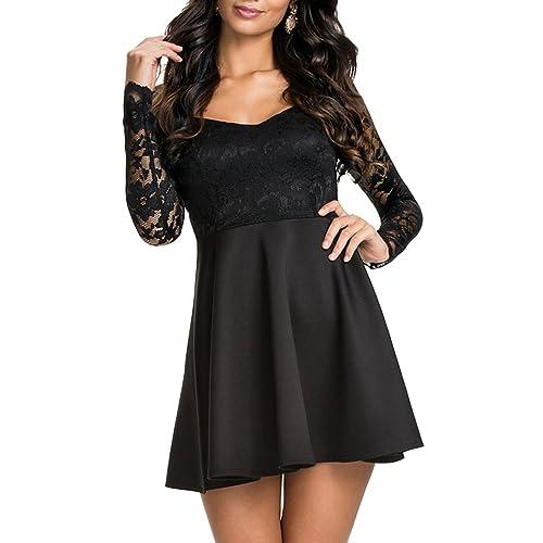 Black Lace Skater Dress Amazon