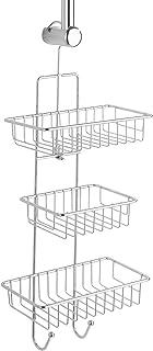 WENKO Shower Caddy Milano-Rack with 3 Shelves, 2 Hooks, Steel, Silver Shiny, 14 x 25 x 62 cm